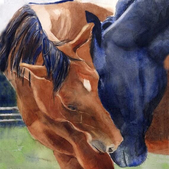 Horse Art Watercolor Painting Warmblood Thoroughbred Friesian Arabian Quarter Equine PRINT Digital Giclee Custom hand painted Huge Big Large