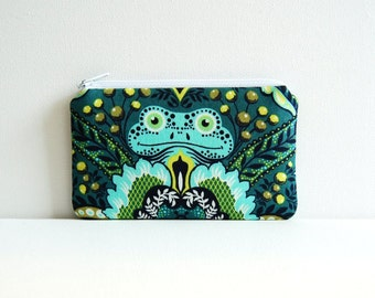 Small Zipper Pouch, Coin Purse, Women and Teens, Frog Prince in Indigo, Tula Pink Prince Charming