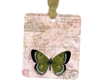 Six Gift Tags , Butterfly Tags , Green Butterfly , Insect Tags , All Occasion Tags , Nature Tags , Things with Wings , Shabby Tags