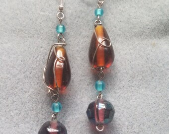 SALE! Amber and Purple Wire Wrapped Bead Drop Earrings