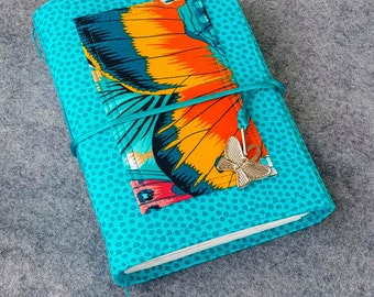 Butterfly Wings Wrap Journal, hand bound fabric notebook.