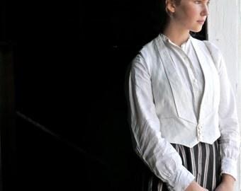 Victorian Era Men's White Cotton Pique Vest