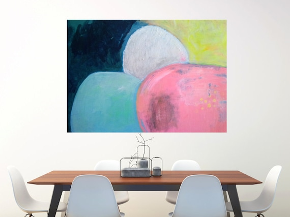 Abstract Art Landscape Large Canvas Art Print Wall Art Home Decor Abstract Modern Art Contemporary Pink Blue Yellow
