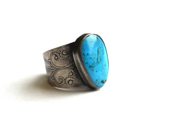 Sterling Silver Turquoise Ring. Wide Band Filigree Ring. Cigar Band Ring. Sterling Silver Ring Size 6. December Birthstone.