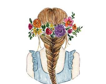 Floral Art, Floral Watercolor, Flowers Illustration Farmhouse Art, Children's Wall Art, Nusery Decor