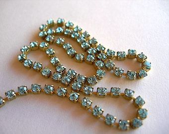 Vintage Rhinestone Cup Chain 2mm SS11-12 LIGHT SAPPHIRE Blue 1 foot Brass Setting Glass Crystals