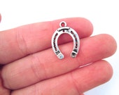 Horse shoe charms, silver plated good luck charms