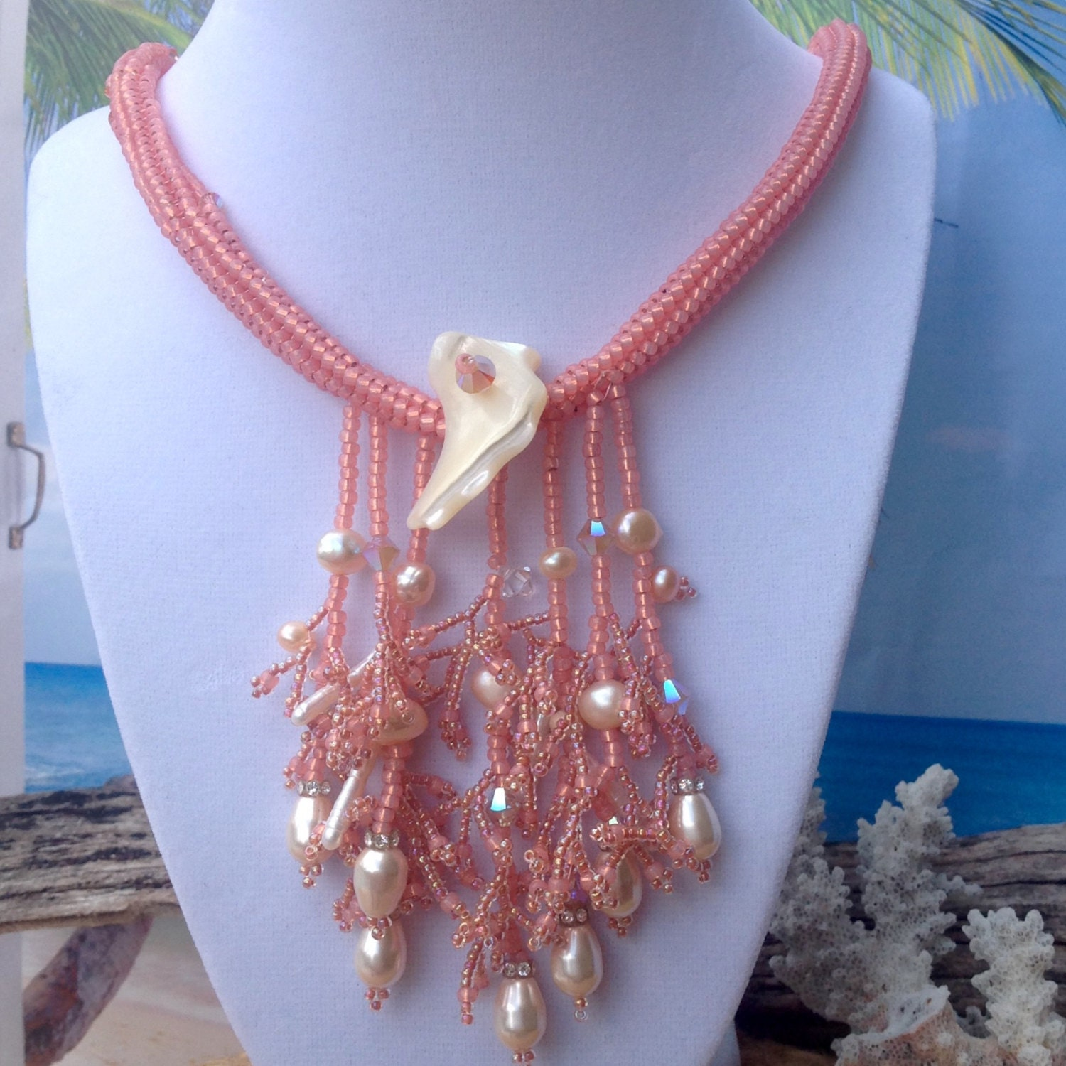 Peach Pearl Necklace: Peach Pearl Necklace Beach Jewelry Coral NecklaceFresh