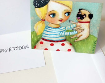 PUG Birthday card Cute fawn pug HAPPY BIRTHDAY greeting card note card from painting by Tascha