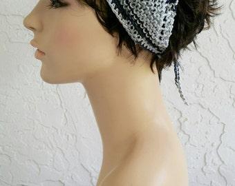 hand knit Bandana dorag women accessories black white grey kerchief head wrap triangle ~ gypsy spirit knit  ~ cotton