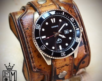 Brown Leather cuff watch Casio diver Wide layered wristband Distressed destroyed finish bracelet made for YOU in NYC by Freddie Matara!