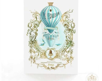 Hot air balloon card, vintage flight, travel card, steampunk, bon voyage card, French, birthday card, blue, gold, Le Ballon, holiday card