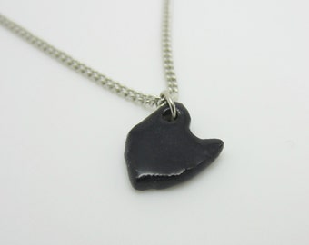 Small Black Ohio Necklace Glazed Ceramic on an 18 inch Silver Chain