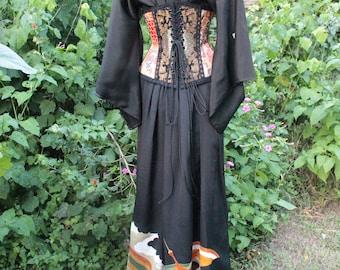 Japanese Full length Vintage Black Silk Embroidered Boudoir Kimono Dress with Crane print