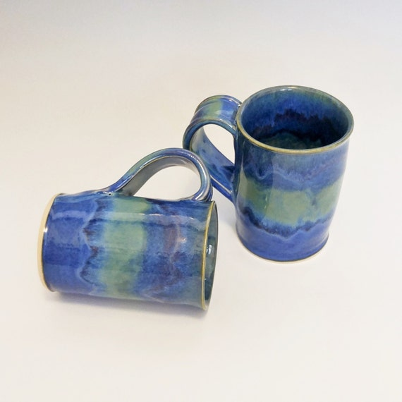 Mugs - Coffee Mugs - Tea Mugs - Ceramic Coffee Mugs - Coffee Cup - Ceramic Mug - Blue Coffee Mug - Pottery Mugs - Stoneware Mugs - Set of 2