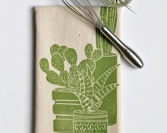 Cactus Plant and Succulent Block Printed Flour Sack Towel- Soft Cotton Kitchen Towel
