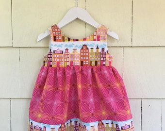 Cityscape Dress | Architect | Buildings | Scandinavian | Houses | City Skyline |  Girls STEM STEAM | Pocket Dress | Baby Gift | Pockets