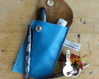 Blue Leather Case - Repurposed Leather