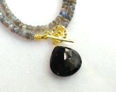 Brilliant Flash Labradorite, Black Onyx Pendant Toggle Necklace in Gold Vermeil...