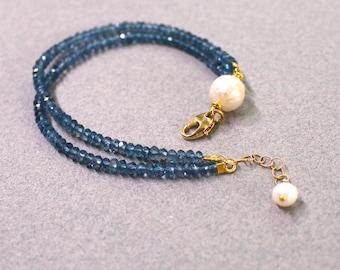 Genuine Kasumi Pearl, London Blue Topaz Delicate Double Strand bracelet...