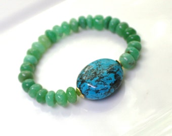 Little Luxe Simple Stacking Stretch Bracelet in Chrysoprase, Turquoise, Gold Vermeil...