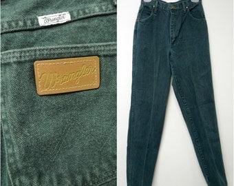 "Wrangler . high waist . dark green . denim jeans . size 7/8 x 34 . 26"" waist"