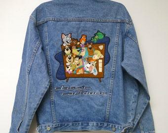 Warner Bros. Studio . classic cartoons denim jacket . medium . like NEW