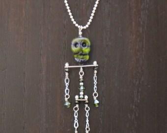 Skull, Skeleton Pendant, Halloween Necklace, Crystal, Chain