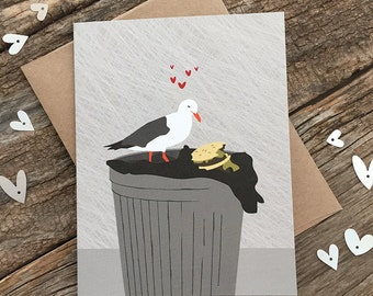 funny valentine card / anniversary card / seagull