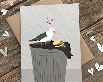 funny anniversary card / love card / seagull