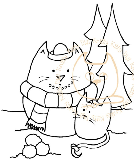 Digi Stamp Instant Download. Snowcat. Christmas Collection. Knitty Kitty Digis No. 12