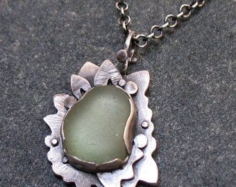 Sea Glass Necklace, Sea Foam Sea Glass Necklace, Sterling Silver Beach Jewelry, Inspired by Polynesian Fabric