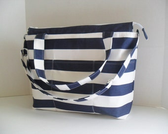 Stripe Diaper Bag - Navy Blue and White Stripe - Nautical Diaper Bag - Diaper Bag - Stripe Bag - Messenger - Laptop Bag - Blue and white