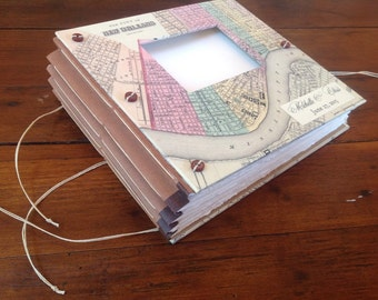 New Orleans Wedding Guest Book with Vintage Map, Photo Booth or Instax Photos - Personalized with Names & Dates