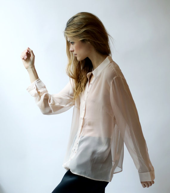Silk Chiffon button blouse in pale blush pink