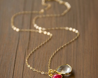 Lovely Crystal Quartz and Natural Ruby in Bezel Charms on a 14k Gold Fill Necklace