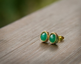 Bright Green Faceted Stones Wire Wrapped into Stud Earrings with Gold Wire