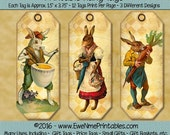 Instant Download - Printable Hang Tags - Victorian Easter Bunnies - Digital PDF and/or JPG file