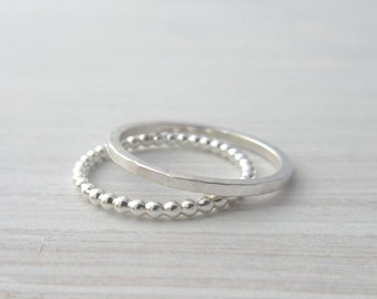 Sterling Silver Stacking Ring - Stacking Rings - Thin Silver Rings - Skinny Rings - Thin Hammered Rings - Textured Rings