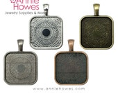"""25mm Square Bezel Pendant Tray Setting Square PUFFY Style. 25mm or 1"""". Silver, Copper, Gunmetal and Gold Options. 5 Pack."""