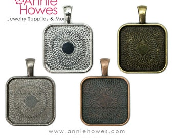 "25mm Square Bezel Pendant Tray Setting Square PUFFY Style. 25mm or 1"". Silver, Copper, Gunmetal and Gold Options. 25 Pack."