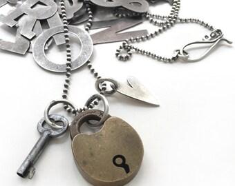 "Antique Vintage Bohannan Brooklyn Bronze Brass Padlock Skeleton Key Sterling Heart Tag Charm Necklace 31"" Long Ball Chain Mixed Metal"