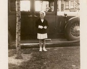 vintage photo 1930s Little Girl Cute Suit White Gloves Beret FAncy Car