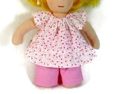 8 to 9 inch Waldorf clothes, pink and white heart flower swing top and sparkly pink pants for your tiny Waldorf doll, girl doll clothes