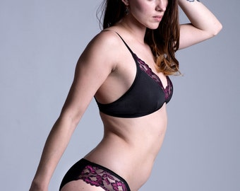 Organic Cotton and Lace Panty - Black with Pink Lace 'Zinnia' Panties - Custom Fit Made To Order Womens Lingerie