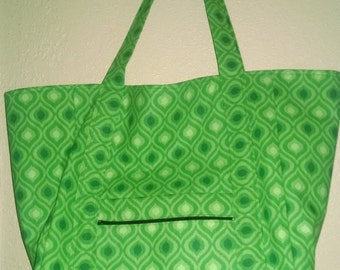 "Double Extra Large Durable 15.5"" Grocery Shopper Reversible Market Tote Bag Green Ikat with POCKETS and Small Zippered Pocket SALE 15% off*"