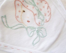 Old Fashioned Bonnet Baby - Hand Embroidered Hooded Swaddling Blanket for Girl -  by Cornflower Creations