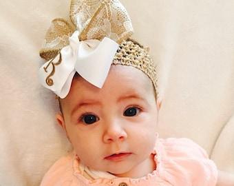 Burlap Lace, Initial Monogram, Hair Bows, Monogrammed Rustic, Southern Girl, Country Baby, Headband Infant, Barn Monogram, Western Wedding