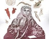 Antonie van Leeuwenhoek Portrait with his Microscope and Animacules Lino Block Print History of Science Microbiology