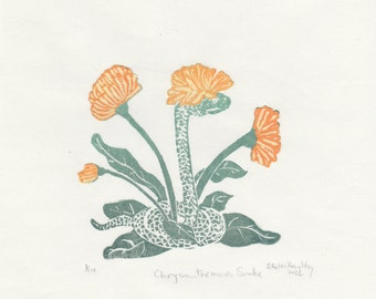 The Chrysanthemum Snake Mini Print, a linocut imaginary animal- Imaginary Hybrid Zoology Linocut Collection Flower Camouflage Snake